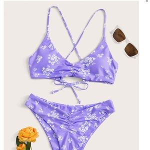 Other - Bikini Floral Ruched High Cut Swimsuit LG new